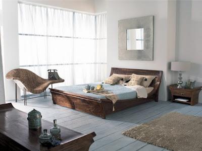 habitación marrón y celeste
