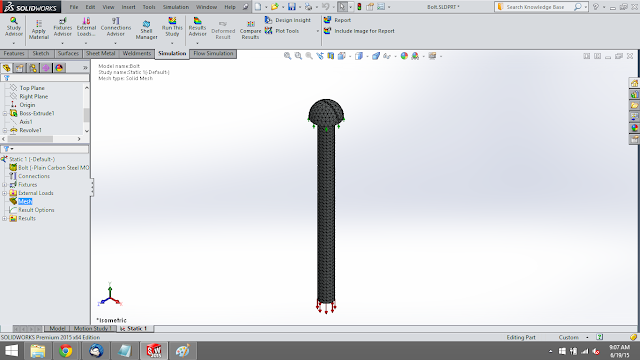 meshing the bolt in solidworks simulation