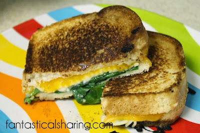 Fancy Grilled Cheese Sandwiches | Fancy means 3 kinds of cheeses, garlic, and spinach! #sandwich