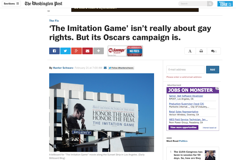 Washington Post Imitation Game Oscar billboard article