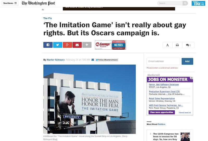 Washington Post Imitation Game Oscar billboard article