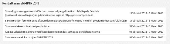 Tahapan dan Tata Cara Mendaftar SNMPTN 2013