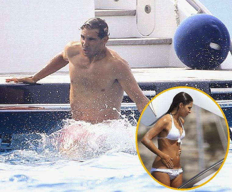 Rafael Nadal was smiling when we show his girlfriend, Xisca Perello was showing off her fantastic physique in a white bikini at Ibiza on Sunday, July 20, 2014.