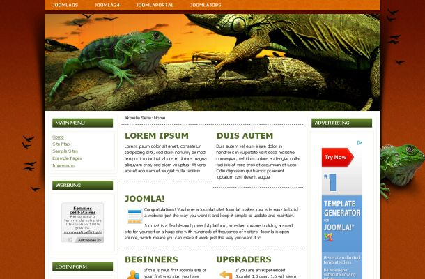 Free Joomla Animals Vector Jquery Theme Template