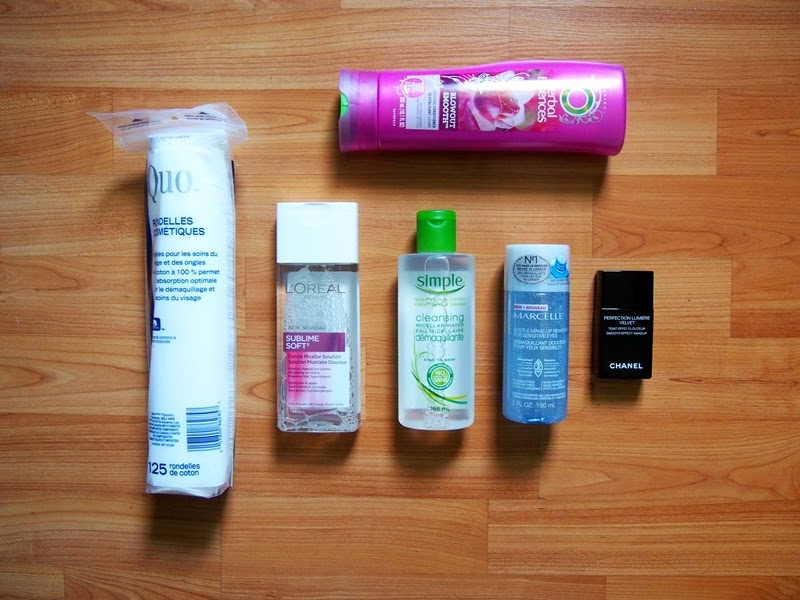 cotton pads, micellar waters, makeup remover, hair conditioner, chanel foundation