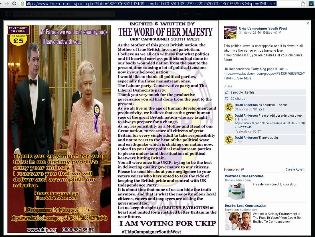 Screencap of Nigel Farage and The Queen of England in Photoshopped UKIP meme