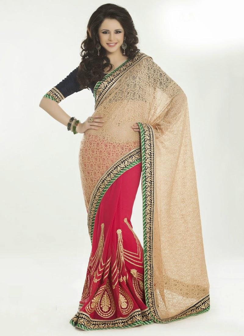 http://www.cbazaar.com/party-wear-saree/exotic-jacquard-weave/pink-n-beige-half-n-half-saree-p-samsc711c.html