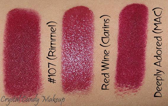 Rouge à lèvres Rouge Éclat 07 Red Wine de Clarins - Rouge Eclat lipstick review - Swatch - MAC Deeply Adored, Rimmel #107