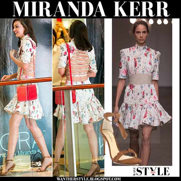 Miranda Kerr in floral print laced back mini dress zimmermann what she wore