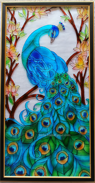 Glass painting outline designs peacock
