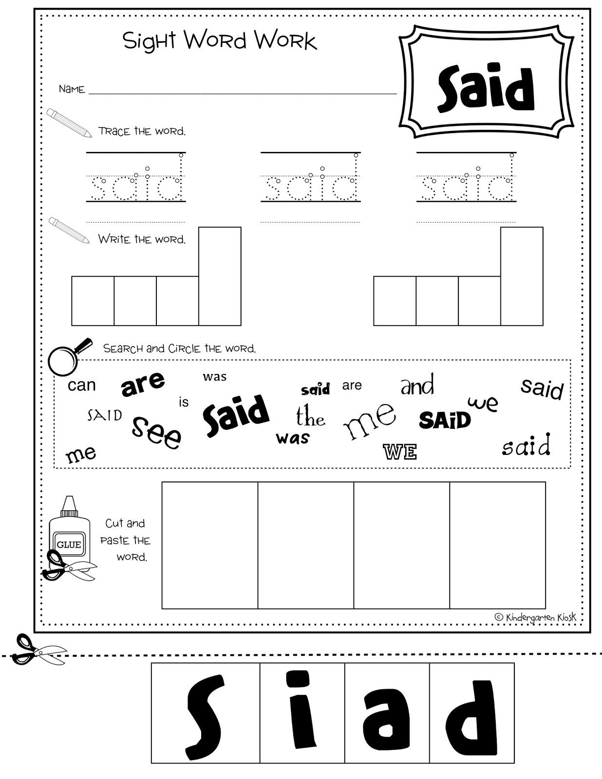 worksheet Said Worksheets new 190 sight word worksheet for said multi task kiosk kindergarten workbook word