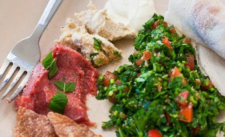 authentic Lebanese dish of raw minced lamb Raw minced lamb with burghul and spices (kibbeh nayeh) recipe