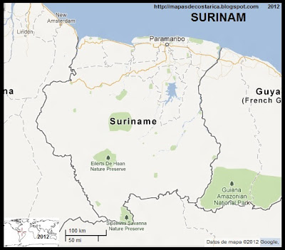Mapa de SURINAM, Google Maps
