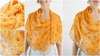 Silk scarf, indian sari, orange beaded shawl, awesome as a sarong or beach wrap