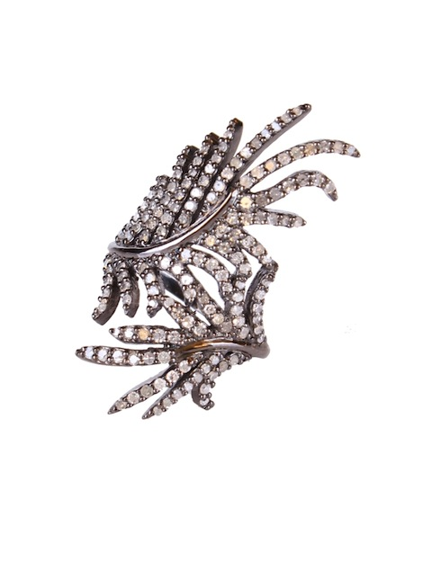 Double Leaf Ring in Diamonds and Silver by State Room Jewelry.  $1,350.00