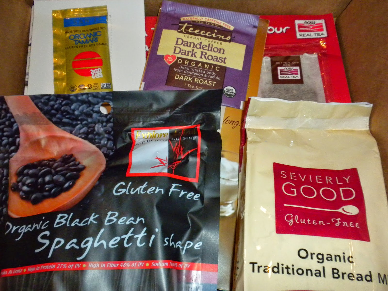 Close up of some items in the August 2014 Send Me Gluten Free box
