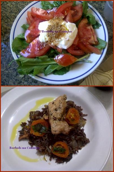 Arroz vermelho com frango ervas e tomate