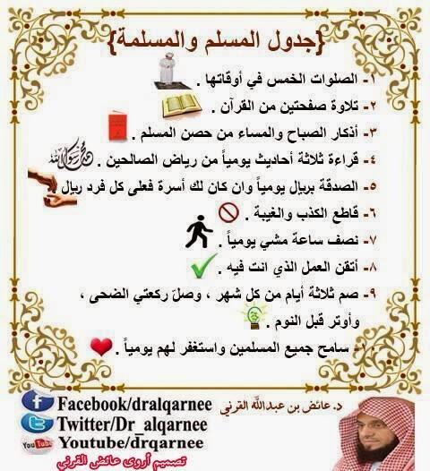 .جدول المسلم والمسلمة