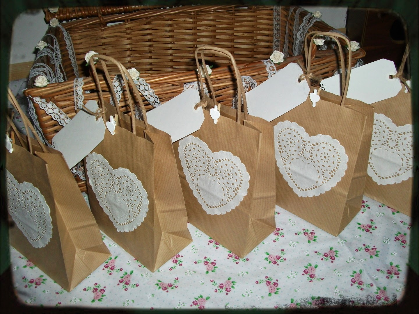 Colorado Wedding Gift Bag Ideas : Shabby Chic, brown kraft wedding gift bags, with heart lace doily and ...