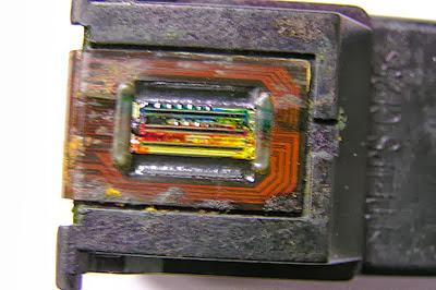 inyectores de tinta estropeados por sobrecalentamiento en el cartucho