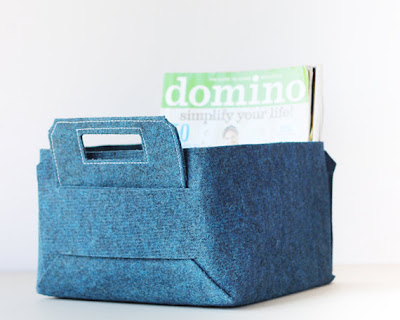 blue felt basket