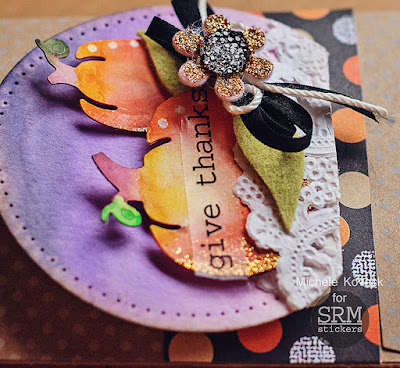 SRM Blog - Fall Treat Bag by Michele - #treatbag #stickers #sentiments #doily #DIY