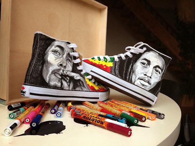 izak graffiti markers molotow sneakers art street art bob marley