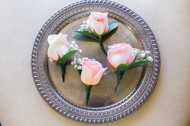 pink rose boutineers