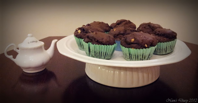 Chocolate Peanut Butter Muffins  --->  Eggless