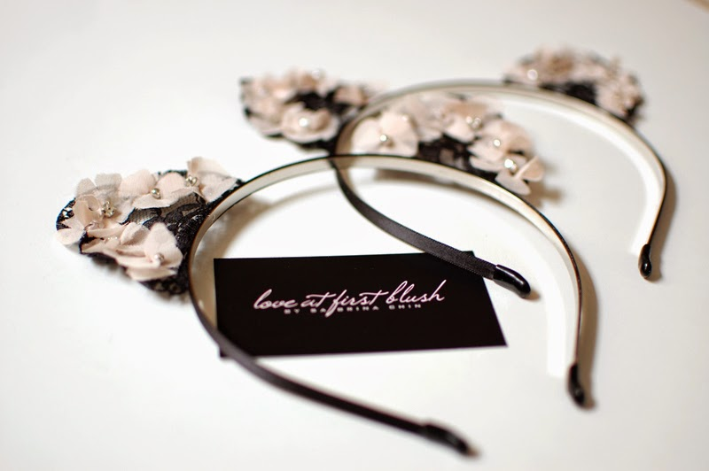 detail of floral lace cat ears headband