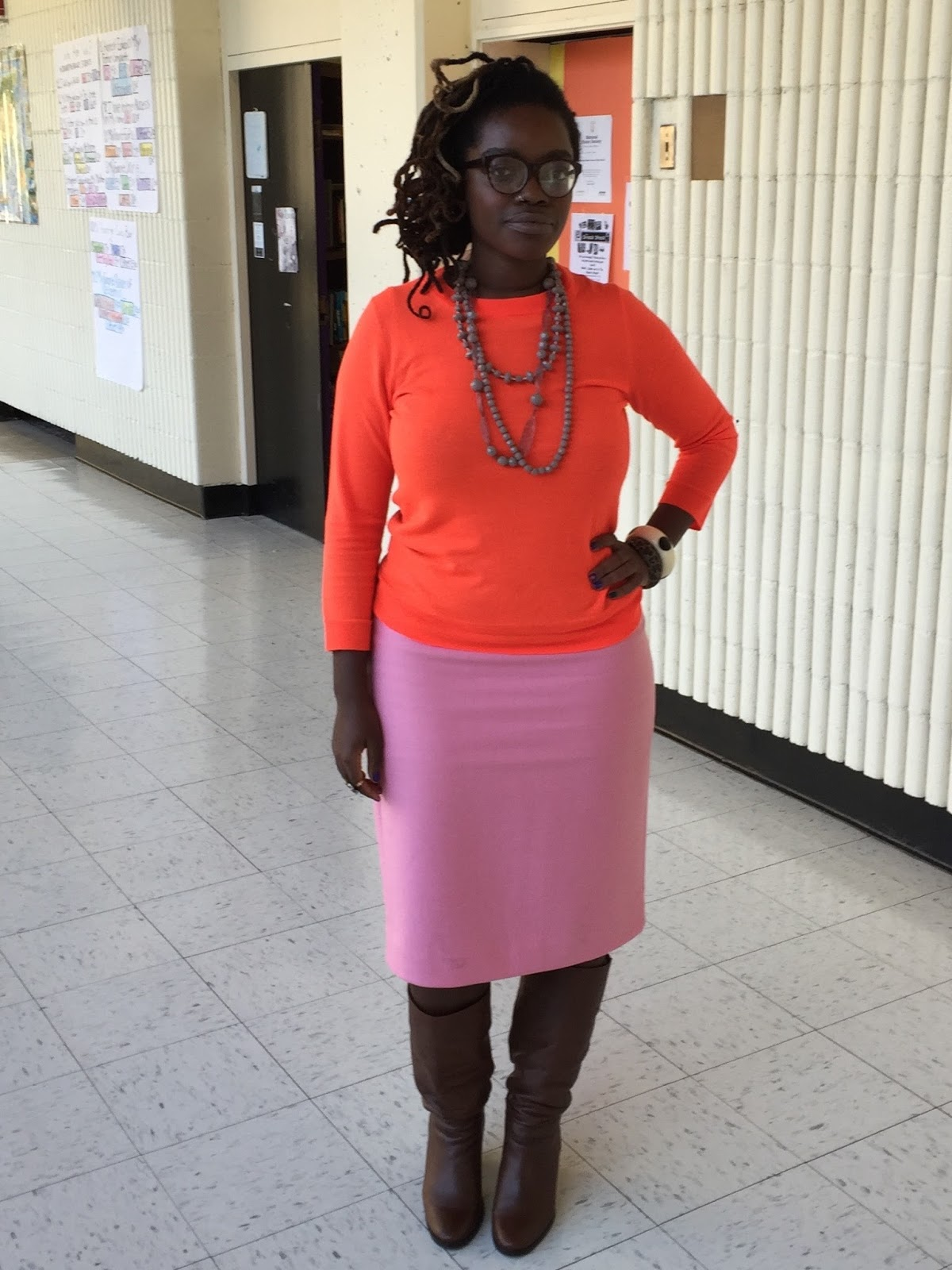 I Enjoyed The Contrast Against Warm Pink Tone Of Skirt Also Love How Deeply Evenly Brown Look While Wearing Such A Vibrant Orange Color