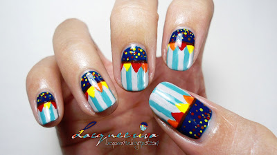Lacqueerisa: Circus Themed Hot Air Balloon Inspired Nail Art