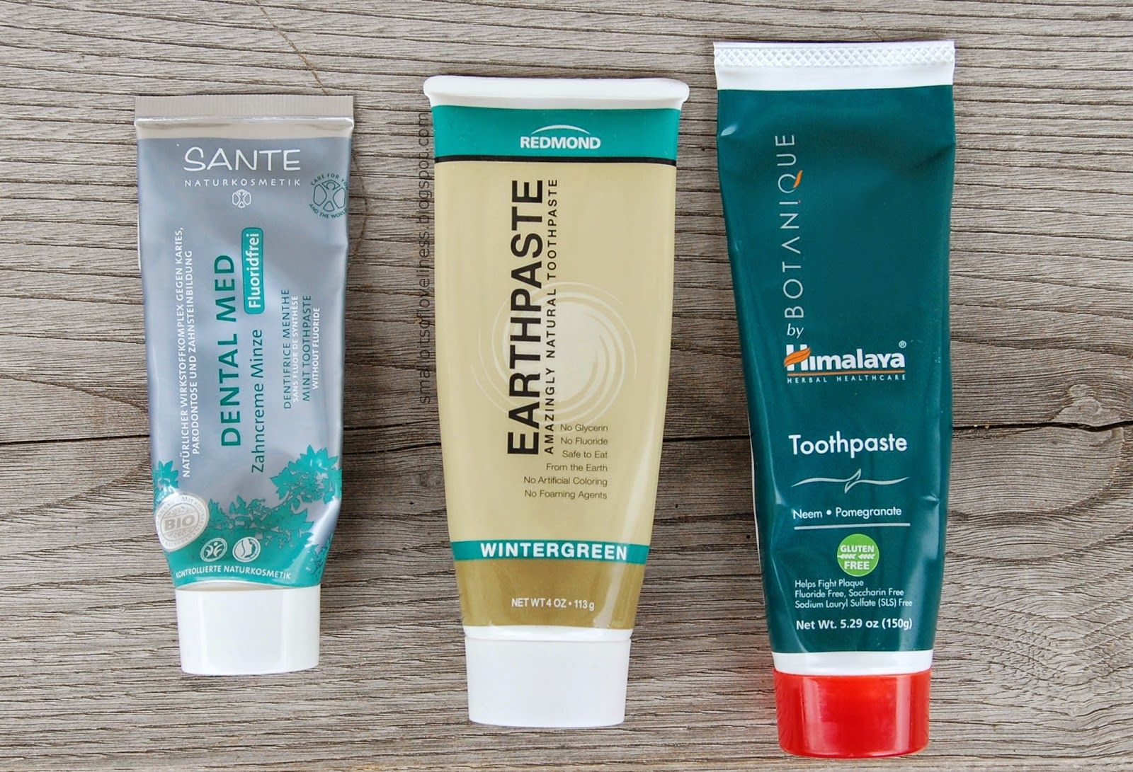 Natural Toothpaste Sante Mint, Himalaya Neem Pomegranate, Redmond Earthpaste Wintergreen