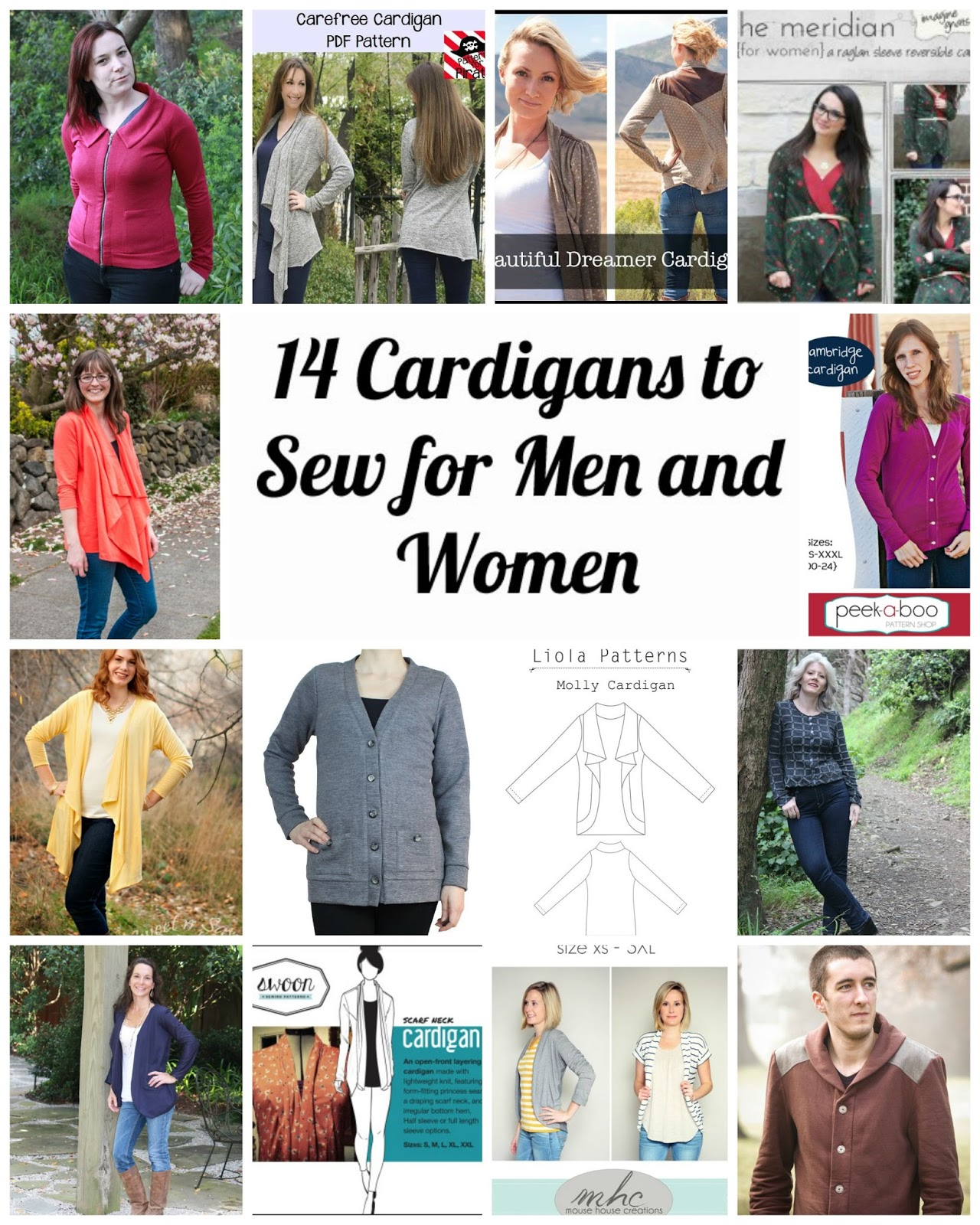 Wally and Grace Designs: Men\'s and Women\'s Cardigan Sewing Patterns