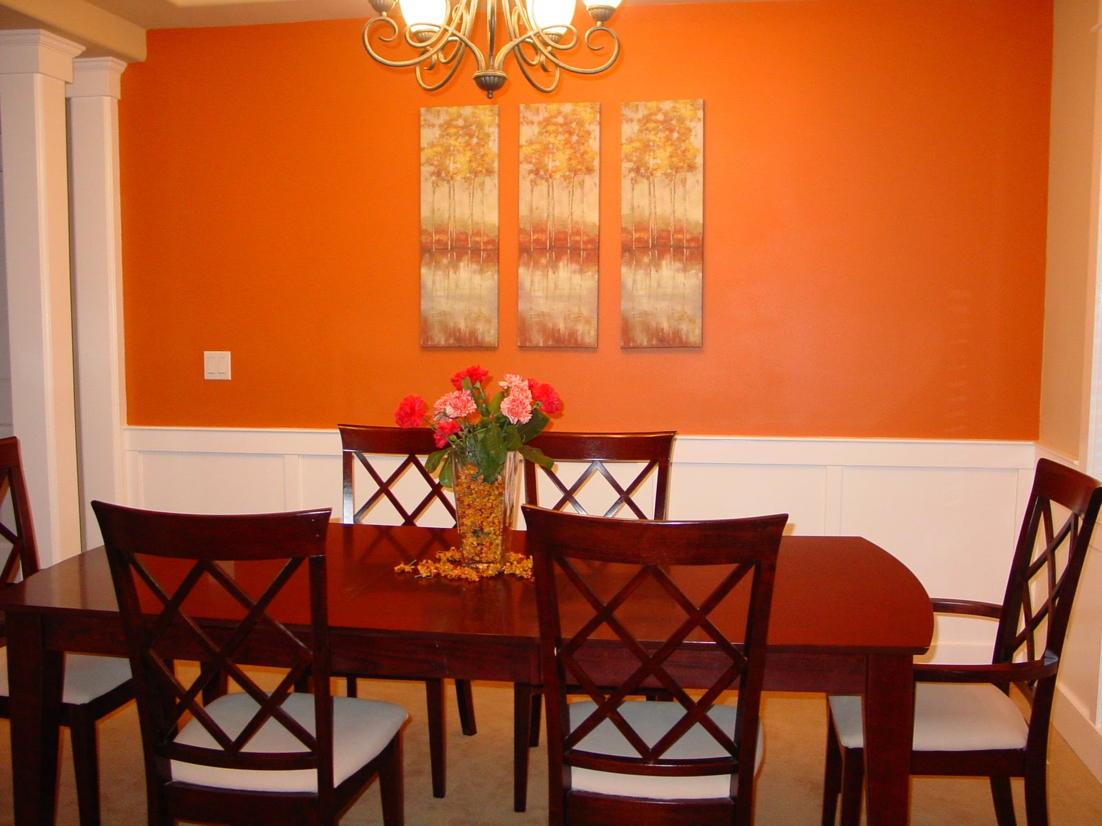 Orange accent wall living room beautiful cock love for Dining room wall design