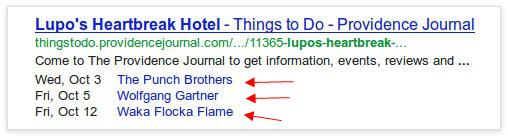Multiple events rich snippet in Google search results
