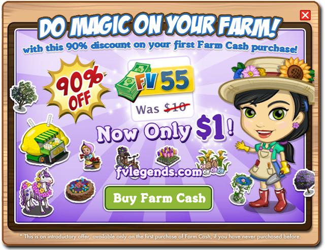 Farmville offers 90% Discount for Farm Cash Purchase Popup