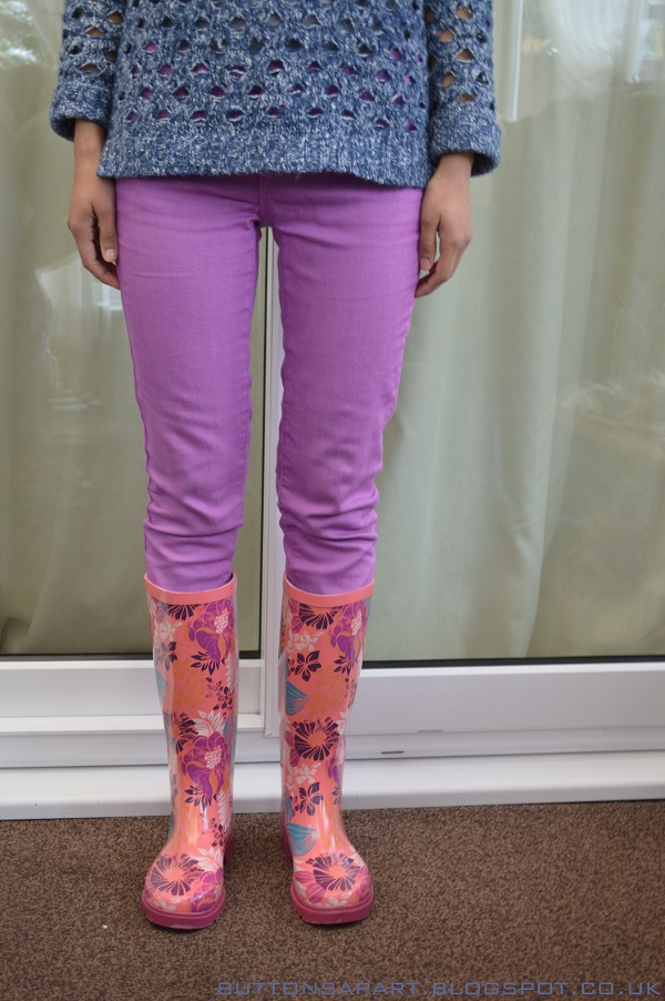 a picture of an outfit featuring lilac skinny jeans and wellington boots