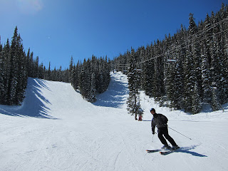 Craig skiing down one of my favorite runs, Gandy Dancer