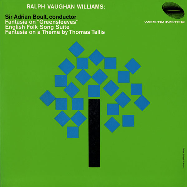 Ralph Vaghan Williams Ninth Symphony by Sir Adrian Boult and the London Philharmonic Orchestra for Decca, tree cover, tree graphic, tree stylized