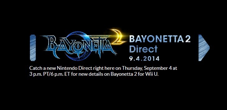 Image announcing a Bayonetta 2 Nintendo Direct which will take place on September 4th, 2014