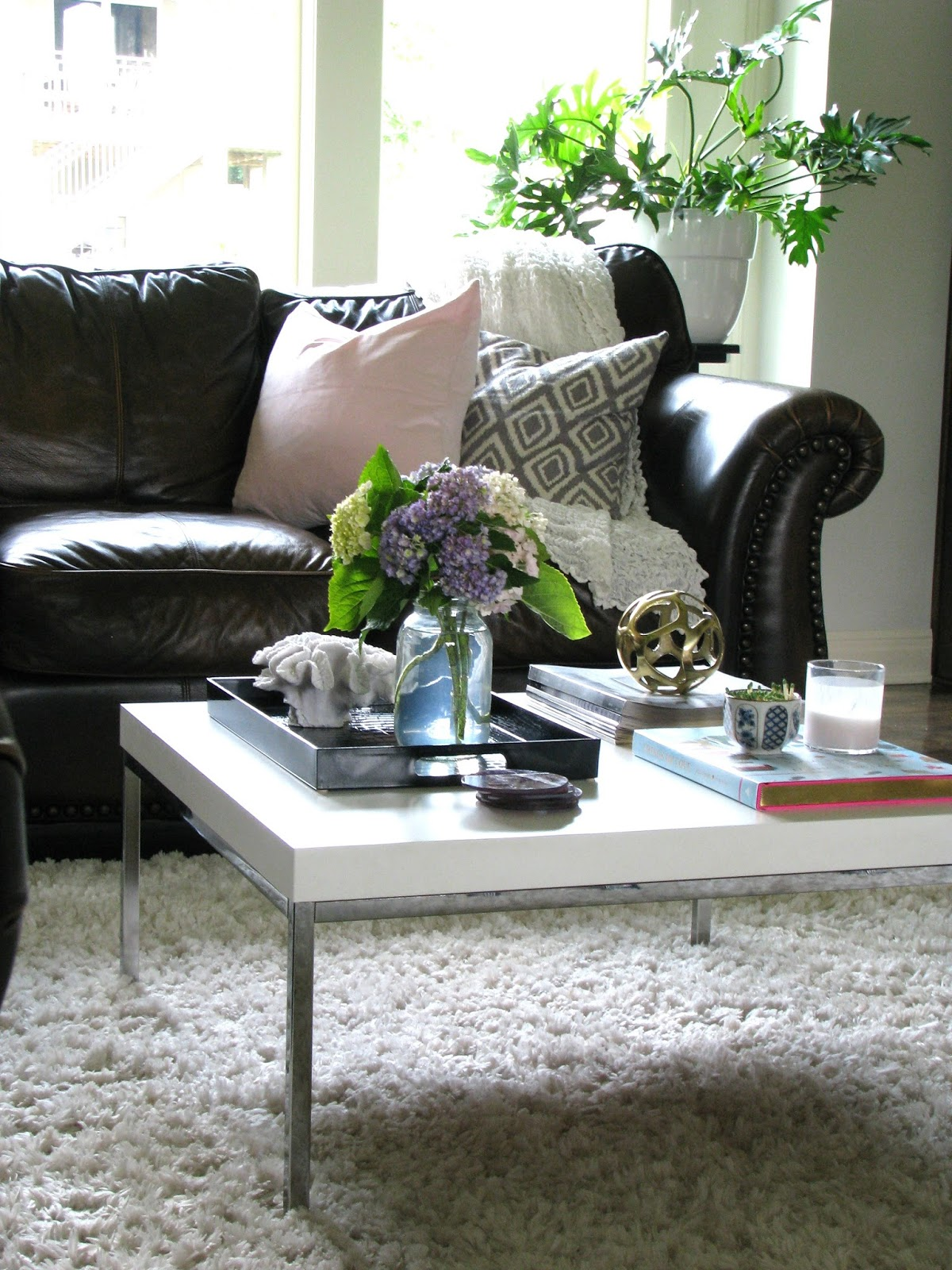 Life Love Larson Decorating Around Dark Leather Sofas