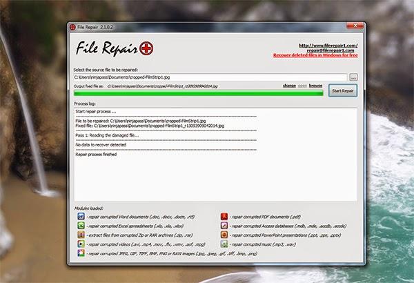������ ����� ������� ������� � �������� File Repair