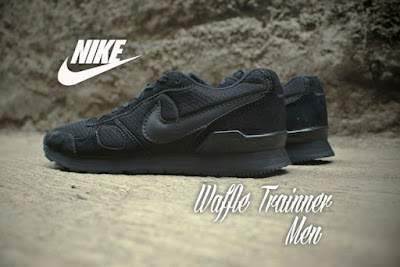 Sepatu Nike Waffle Trainer Men Full Black Murah