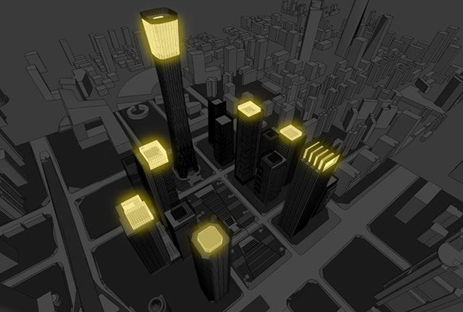 Drawing of the China Zun (CITIC Plaza) by TFP Farrells, Beijing, China showing lights on the roofs of proposed buildings