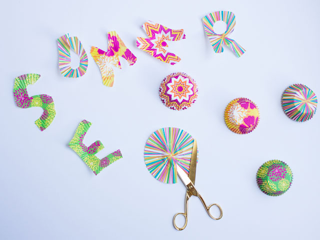 How to make letters from cupcake liners