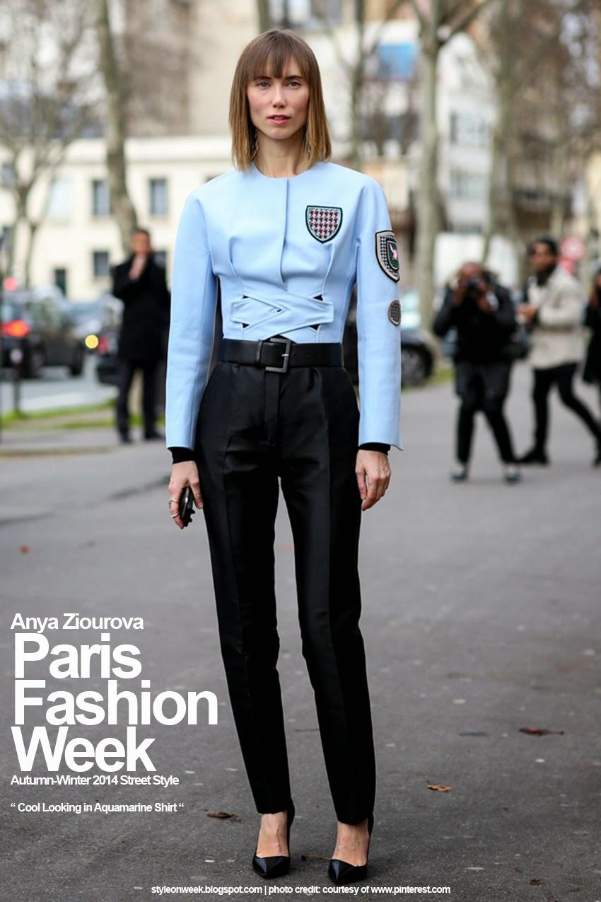 Paris Fashion Week Autumn-Winter 2014 Street Style - Cool Looking in Aquamarine Shirt