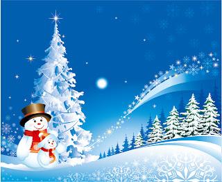 雪降るクリスマスの風景 cartoon christmas background イラスト素材1