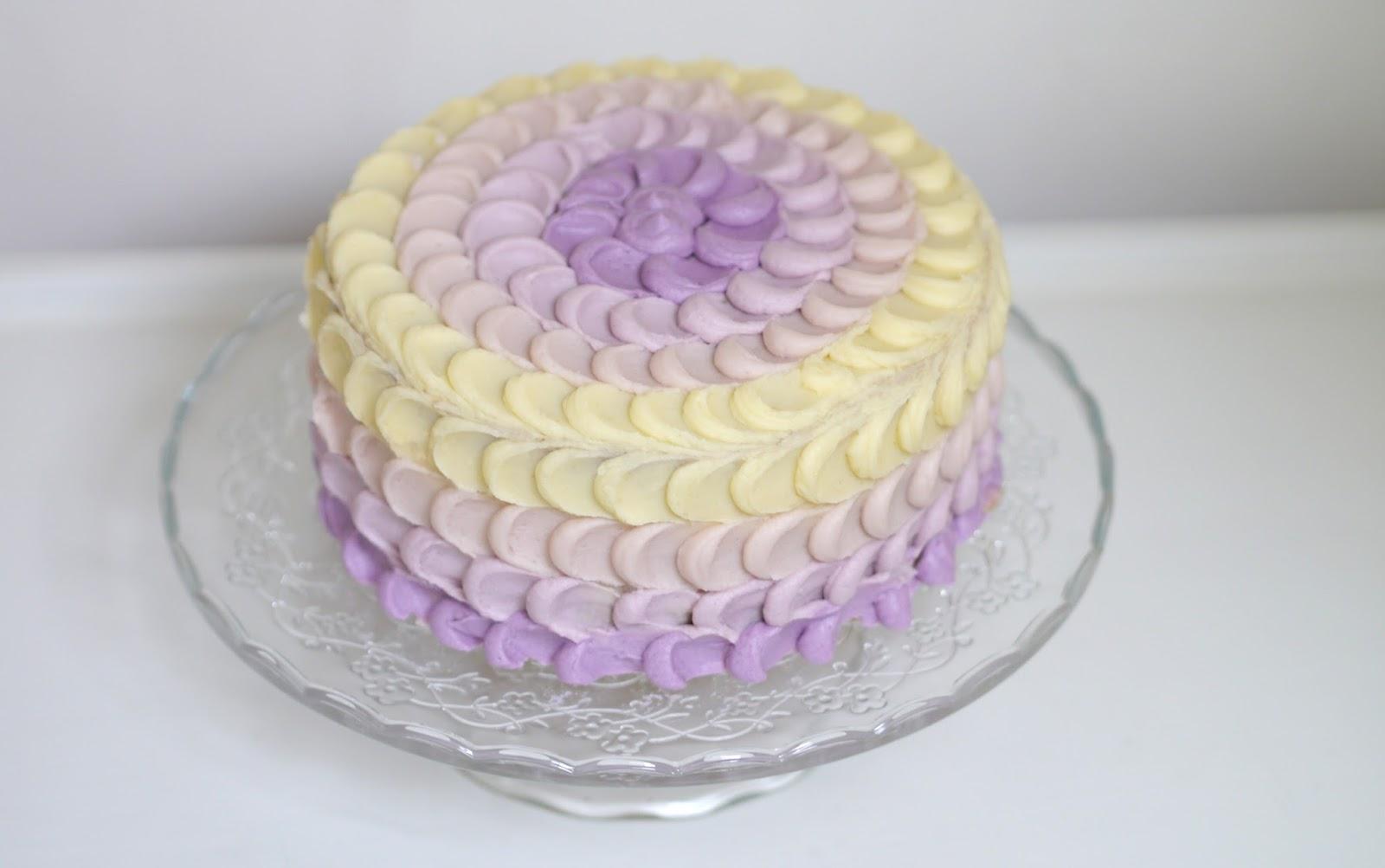Handmade Pastel Purple Lilac Ombre Petal Cake Recipe Tutorial