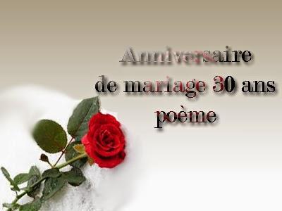 Anniversaire de mariage 30 ans poème